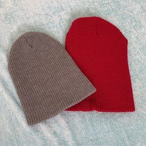Knit fold over beanie set